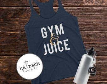 gym & juice women's racerback tank