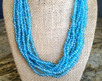 multi strand necklace, beaded necklace, baby blue necklace, light blue necklace, baby blue bead necklace, baby blue beaded necklace, blue