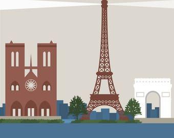 Paris Travel Poster, Eiffel Tower, Notre Dame, Arc de Triomphe, Vintage Look, Retro, Simple, Modern Theme