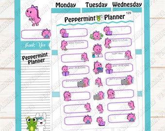 Cute Little Purple Dragons --- Planner Stickers -- 129