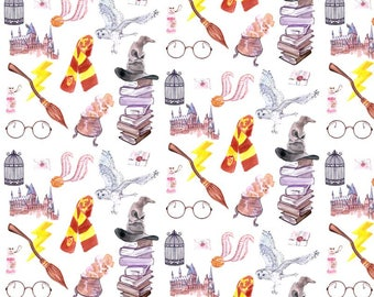 Potter Symbols Fabric by the Yard. Quilting Cotton Organic Knit Jersey Minky. Magic HP Wizards Wizard Harry Movie Glasses Kids