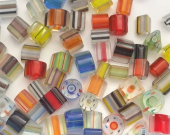Hand Blown Art Glass Cane Beads Rainbow PK 100g