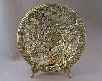 Brass Repro, Repro Coalbrookdale, dish, Neptune Plaque, Brass Plaque, Vinatge Brass Plaque, wall decor, table decor, brass ornament