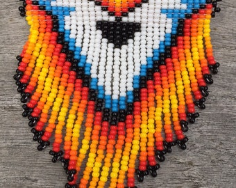 Native beadwork - Beaded Native American Hair clip- Beaded Barrette - fringe barrette - hair accessory - Unique gift