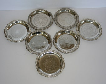 Vintage Silver Coasters - Silver Plated Coasters - Etched Silver Plated Coasters -  Coaster Set - Set of 7