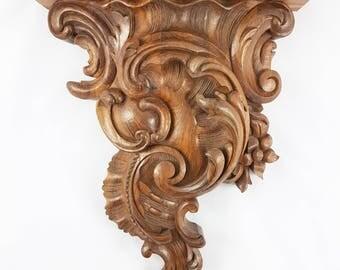 Handmade walnut wall bracket Hand-carved