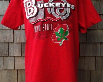 Vintage 90s Ohio State Buckeyes T Shirt - Large - University