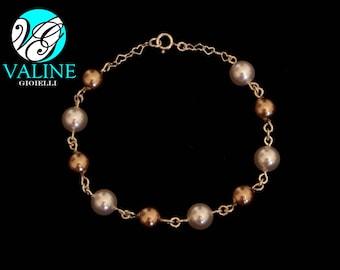 Silver 925 pearls bracelet Gold/White