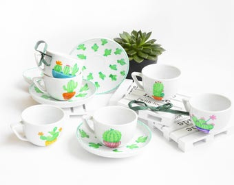 Set of six coffee cups-Cactus