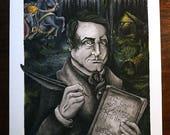 Washington Irving (8 x 10 Giclée Print), The Legend of Sleepy Hollow, Headless Horseman, Watercolor Print, Book Author, Portrait Painting