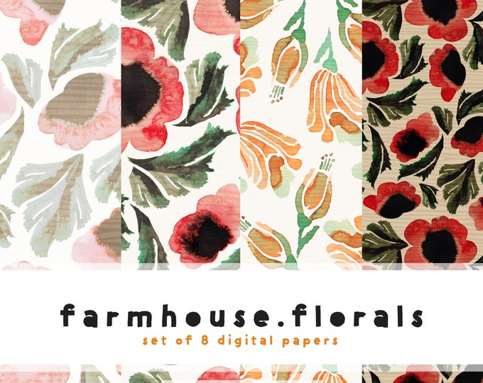 Featured listing image: Farmhouse Florals in Vintage Watercolors Digital Paper Collection  {  Set of 8  }  Tropical Sunset Pattern and Farmhouse Floral Pattern