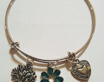 Spring Charm Expandable Bracelet, spring fling, flower charm