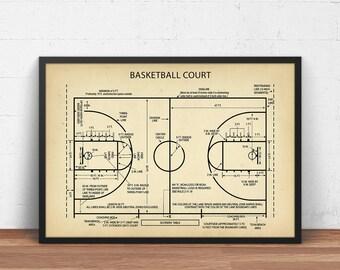Basketball blueprint etsy basketball court blueprint art digital download basketball poster printable basketball gifts boys malvernweather Image collections