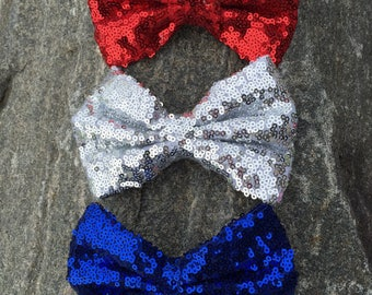 Red sequin bow, red clip bow, silver sequin bow, blue clip bow, sequin bows, July 4th clip bows, First birthday bows, 4th of July clip bows
