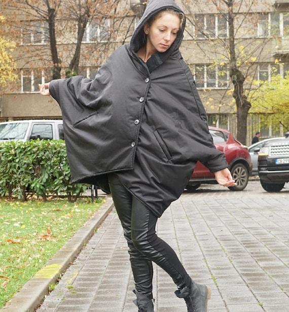 Waterproof Windproof Reversable Wool Coat, Cocoon Padded Coat Parka, Winter Extravagant Coat, Warm Hooded Coat, Oversized Padded Coat