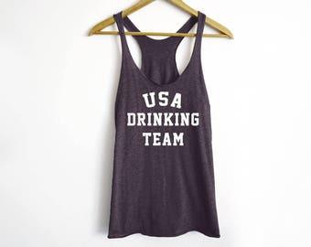 USA Drinking Team Tank -  USA Shirt - Drinking Shirt - Party Shirt - 4Th Of july - Funny Party Shirt - Girl's Night Shirt - USA Team Shirt