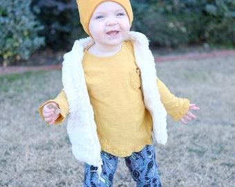 Slouchy beanie - baby beanie- mustard beanie - toddler beanie - hipster beanie - child beanie - reversible beanie