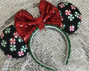 Inspired Peppermint Christmas / Holiday Minnie Mouse Ears