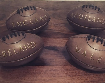 Vintage style personalised mini leather American Football and Rugby ball