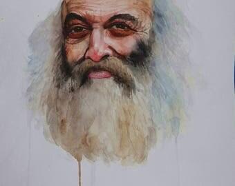 Granddad watercolor, Original watercolor, Watercolor painting, Watercolor gift, Otiginal handmade