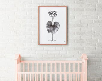 Ostrich Illustration black and white poster