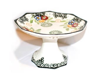 Schramberg SMF Germany Hand Painted Cake Stand by BigMuddyVintageShop