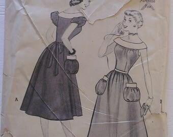 1950's Dress Pattern Size (Age) 16  34 Bust  28 Waist Butterick Complete