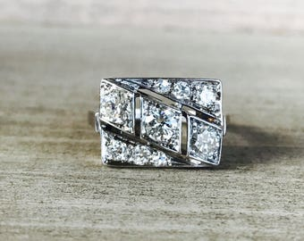 Vintage Diamond ring in 14k white gold