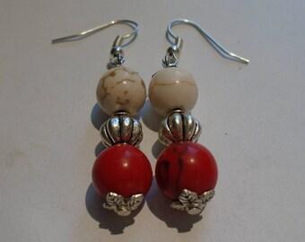 Coral & Silver Beaded Earrings