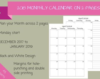 2018 - Dated Monthly Calendar on 2 Pages Printable Planner, Half Sheet, A5, {Digital Download}