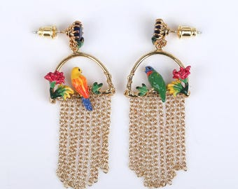 Beautiful Parrot Chandelier Earrings