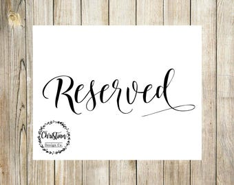 Reserved Sign | Wedding Reserved | Reserved Wedding | Reserved Table Sign | Reserved Signs | Reserved Seating | Reserved Table | Reserved