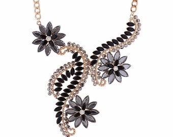 Pretty Black and Gold Maxi Statement Necklace