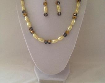 Gold Faceted Necklace Earring Bracelet Set
