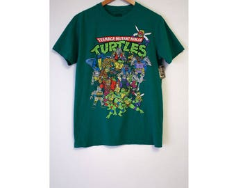Retro Teenage Mutant Ninja Turtles Green T-shirt- Size Women's Medium (Cotton, All the Characters from the 1987 first TMNT Cartoon Series)