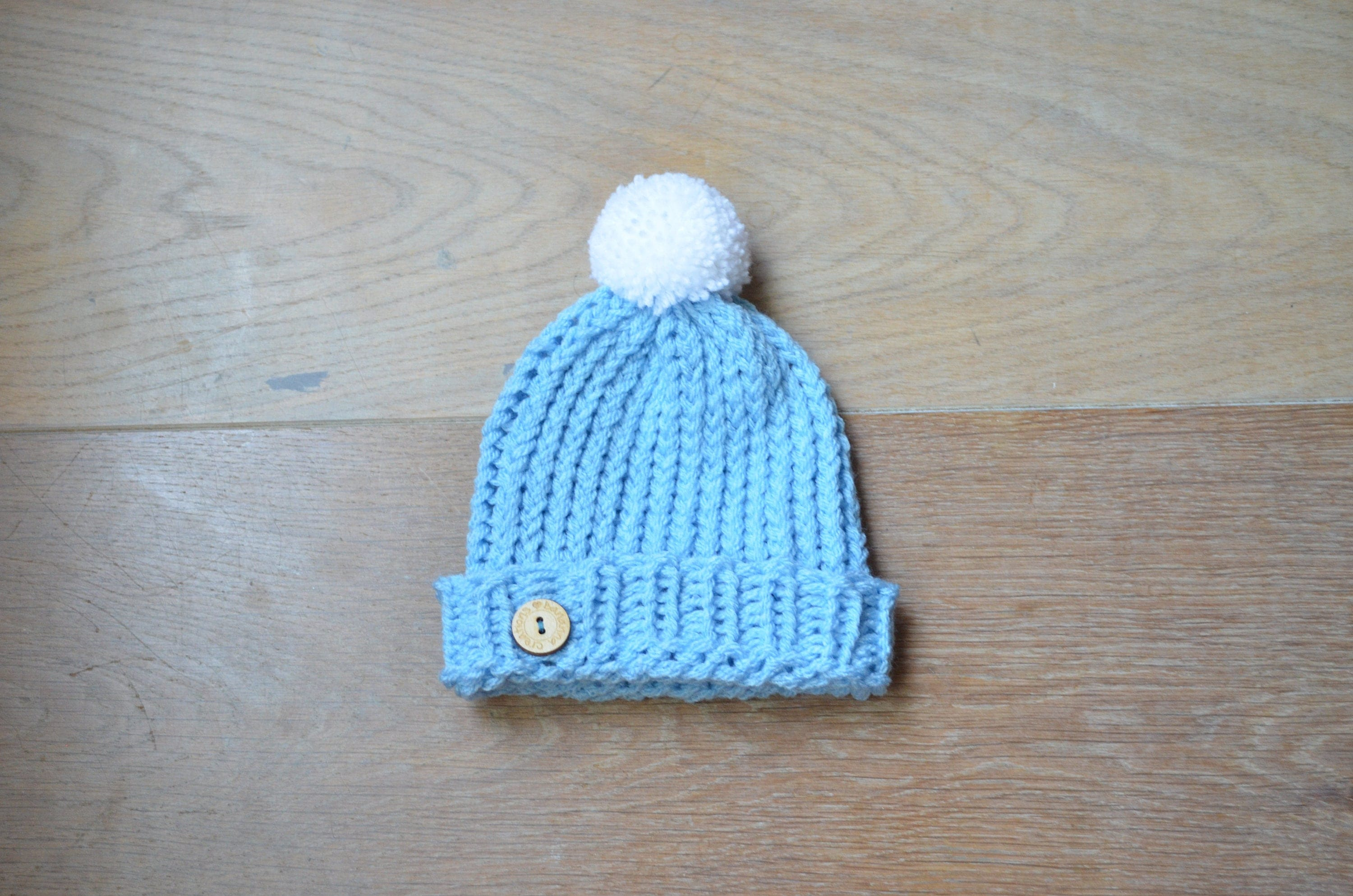Knit baby hat - Newborn Baby Hat - Blue hat with Pom pom - Knitted Beanie b70662a607bc