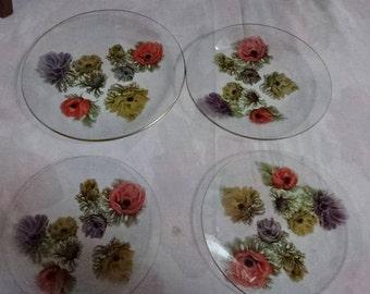 Very Pretty Chance Glass Plates/1 Medium/3 Small/Poppies/Vintage/1960s