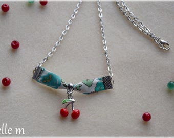"""""""PEP"""" in liberty betsy, cherry red pendant necklace-chain"""