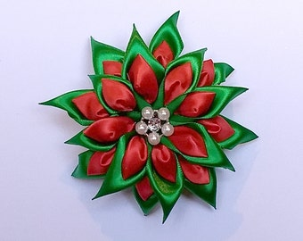 Green and Red Poinsettia Christmas Hair Bow