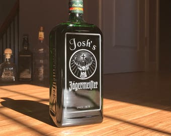 Custom Engraved Jagermeister Etched Liquor Bottle Gift Personalized Gift Merchandise