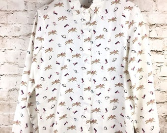 Vintage Women's Shirt Blouse Top Polo HORSE Long Sleeve Button Country Suburban