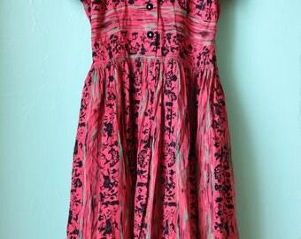 40s Silk Indian Nights Shirt Dress with Velvet Detail