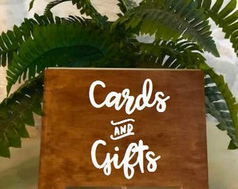 Cards and Gifts sign- standing wood sign, Wedding, Bridal Shower, Party