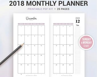 2018 MONTHLY PLANNER, 2018 monthly calendar, Printable planner, month on 2 pages, Sunday and Monday start, A6 and Personal size