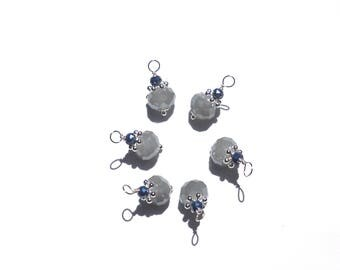 6PC. Multi Faceted AB Finish Austrian 10MM Lt Gray Crystal with 4MM Cerulean Blue AB Austrian Crystal Bead Charms// With Silver Tone Accents