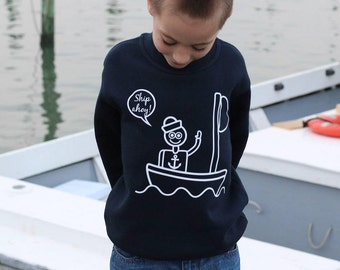 Kids sailor sweater, nautical sweater, boat sweater, Ship ahoy, sea sweater, kids anchor sweater, sailing sweater, pirate sweat, ocean sweat