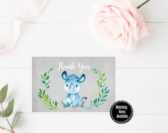 Printable Thank You Card 6x4, Watercolor Floral Thank You Card, Custom Thank You Card, Baby Shower Printable, Thank you Note, Digital Print
