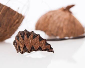 Hunter  Wood Pendant, Coconut Shell Pendant, Natural Brown Pendant, Hand Carved Women Pendant, Gift For Her, Modern Art Wood, One of a kind
