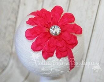 Shocking Pink Flower Headband, Hair Accessories, Headbands, Baby Girl Headbands, Flower Headbands, Flower Hair Accessories, Pink Hair Bows