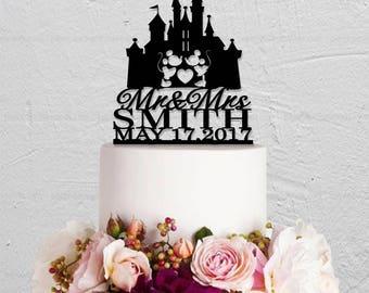 Micky And Minnie Cake Topper,Surname Cake Topper,Disney Wedding Cake Topper,Mr And Mrs Cake Topper,Custom Cake Topper,Personalized topper
